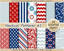 SALE Nautical digital paper anchor digital paper coastal digital paper navy blue red chevron anchor wavy coral seashells stripes sea pattern