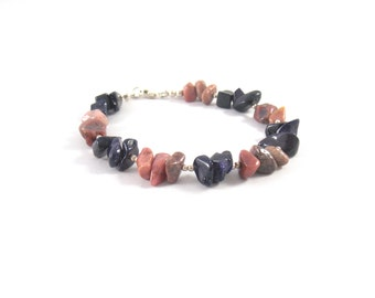 925 silver bracelet and stone Rhodonite and sand blue
