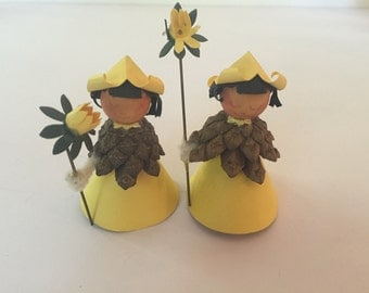 Set of 2 Vintage A/S Erstad & Stubbe-Teglbjaerg Paper and Pinecone Yellow Wood Nymphs Fairies - Made in Denmark