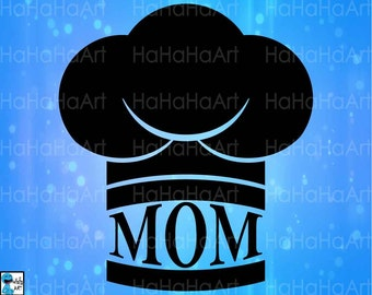 Mom Chef Hat Kitchen - Cutting Files Svg Png Jpg Eps Dxf Digital Graphic Design Instant Download Commercial Use Shirt Cook Hat (00664c)
