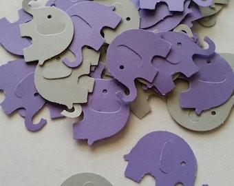 Elephant, Elephant Baby Shower, Purple Elephant Baby Shower, Elephant Party, Elephant Confetti, Baby Elephant, Purple and Gray Decor