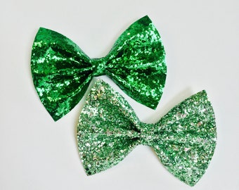 CLEARANCE Kelly Green Glitter Bow and Bow Tie, Spearmint Green Glitter Bow and Bow Tie, Sparkle Bow