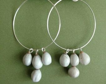Genuine Dangling Job's tears Earrings on Silver hand designed hoop