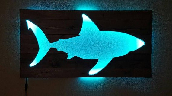 Shark Wall Art shark wall art wood shark fish cutout with remote control