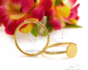 1pcs 8mm 24K Yellow Gold Plated Brass Ring Blank for 8mm Cabochon, Made in Israel, Top Quality, US Size 7, Ring Blank 8mm, 2912TG