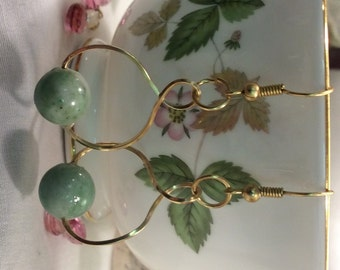 Green Jade Celadon and Gold Swirl and Hoop Dangle & Drop Earrings Handcrafted Artisan Made