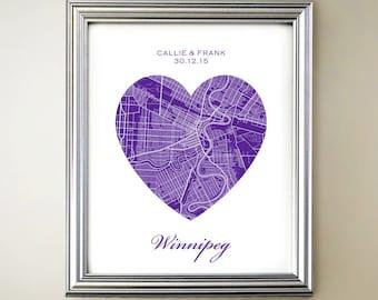 Winnipeg Heart Map Print