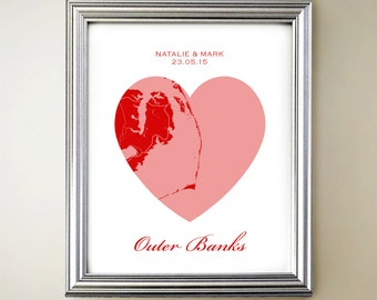 Outer Banks Heart Map