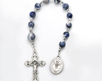 Confirmation Communion Gift for Boys - Blue Sodalite Gemstone Rosary Chaplet - Personalized Option - Choice of Saint- Gift for Men Godfather
