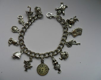 Handmade Alice in Wonderland  Silver Chain Bracelet with 14 Assorted Alice Charms