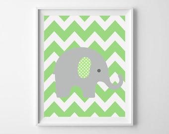 Elephant Nursery decor, green nursery Art Print, elephant bedding decor, Instant Download, chevron elephant Art