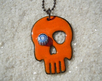 Orange Skull Necklace with one eye