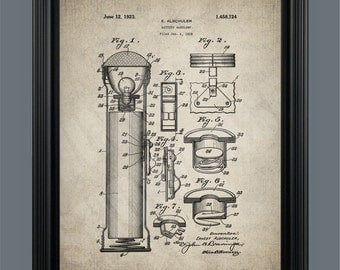 Vintage Battery Lantern - Patent Print- Instant Download - Ready to Print - #024