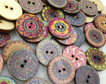 New 100pcs European Style Round Wood Buttons 20mm Sewing Mix WB263