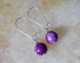 Crazy Lace Agate Earrings, Gemstone Earrings, Silver Plated Earrings,Purple Lilac Earrings,Earrings Hooks,Silver Earrings,Kidney Earrings