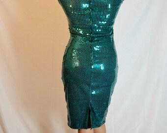 ON SALE!!! Stunning 1980s Sequin Teal Dress!
