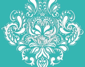Shabby Chic  STENCIL: Doodle Damask Wallpaper Pattern (Furniture Print Transfer) #044