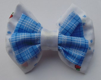 Blue Gingham & Strawberry Print Hair Double Bow