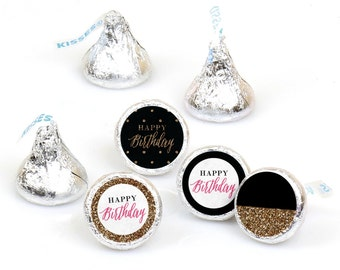 Hershey Kiss® Stickers - Chic Happy Birthday - Round Candy Label Party Favors - Pink, Black and Gold - Hershey Kisses Labels - 108 per Sheet