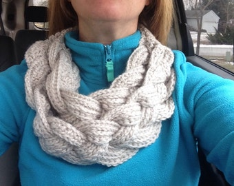 Handmade custom crochet layered braided cowl with button fastener