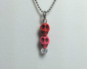 Day of the Dead Double Skull neckace charm - Small pink/red charm only