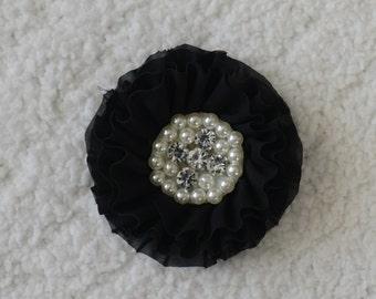 "3"" Chiffon Rhinestone Flower Heads, Wholesale, Flower Headband Baby, Lot of 1, 2, 5 or 10, Black"