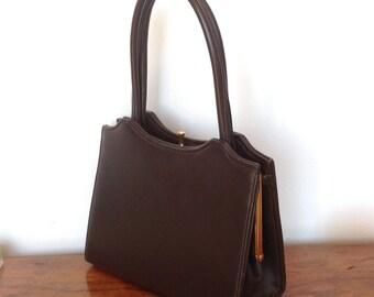 Small Vintage Brown Leather Handbag. 1960's.