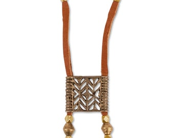 Akha Bolo Necklace | Brass / Leather