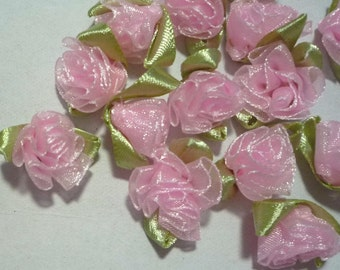 50 pcs Light Pink Organza Cabbage Flower Appliques 1 inch / 2.54 cm width - best for doll decoration C69