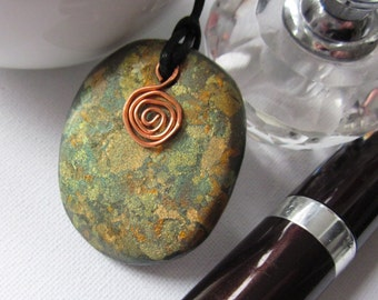 Ladies pendant, polymer clay and copper pendant, womens necklace, womens cord necklace, pendant necklace