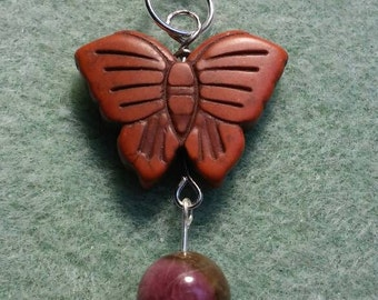 Pretty stone butterfly pendant with watermelon tourmaline bead.