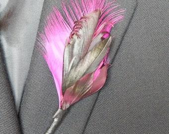 Fuscia and Black Feather Boutonniere