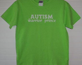 Autism Warrior Prince Line Version Youth Colored Short Sleeve Shirt