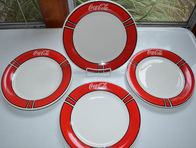 Vintage Coca Cola Coke Dinner Plates Set Of 4 Gibson