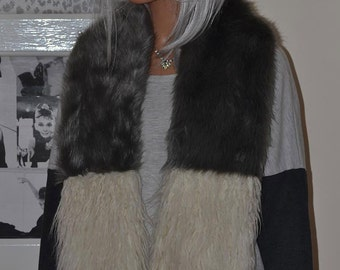 Two Colour Grey Striped Faux Fur Scarf with Ivory / Cream Mongolian Lambswool Tips