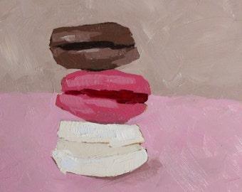macaron oil painting - original still life painting - macroon painting - kitchen wall art