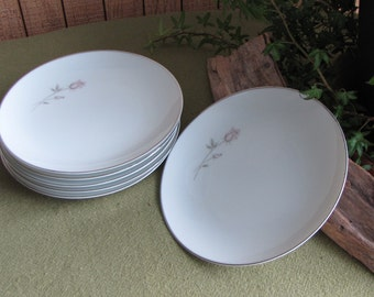 Noritake Pasadena Bread Plates Set of Six (6) #6311 With Storage Cozy Pink Rose Pattern 1962 to 1978 Discontinued Cottage Chic Mid Century