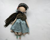 "sweet prairie girl lu - 14""ish handmade cloth doll"