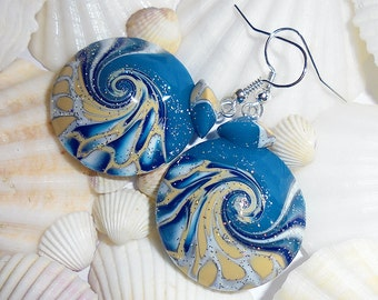 Blue Ocean Earrings, Nautical Earrings, Wave Earrings, Beach Earrings, Polymer Clay Earrings, Turquoise Blue Earrings, Beach Jewelry