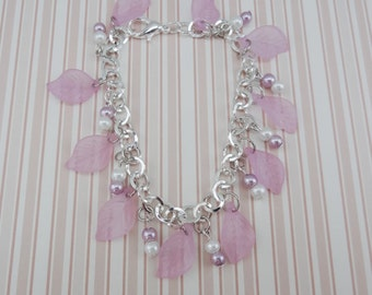 Pink Leaves with Pearls on Silver Plated Chain Bracelet - Ready to Ship