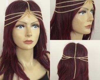 Gold Layered Head Piece , Hair Paice, Boho Head Peice, Bohemian Style Hair Chain, Head Chain, Summer Accessories