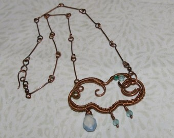 Rain Cloud Copper Necklace, Wire Wrapped, Wire Woven, Chalcedony Drop Pendant, Handcrafted Chain