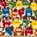 M & M Funfetti Packed Chocolate Fabric Mars Candy 100% Licensed Premium Cotton
