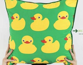 Cute Rubber Ducks Pattern Cotton Fabric by Yard - Green
