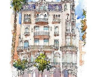 Casa Fuster PRINT / Lluís Domènech i Montaner. Eixample, Barcelona / drawing Barcelona