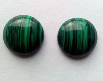 2 Malachite Cabochons 20 mm Round Cabochons Jewelry Making Supplies