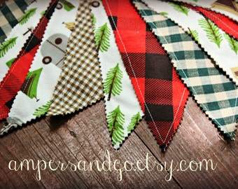 Camper Party Banner, Camp Lumberjack Party Pennant Flags Camp Fabric Bunting Buffalo Plaid, Cake Smash Photo Prop Red Hunter Black LAST ONE