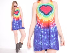 vintage 90s dress rainbow tie dye heart print kinderwhore dress babydoll grunge mini dress 1990s clothing extra small XS XXS