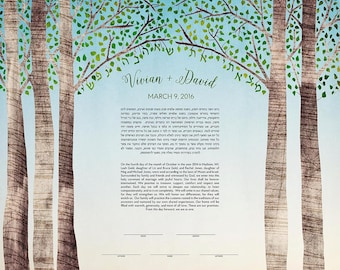 Contemporary Custom Ketubah Marriage Certificate Birch Tree Summer