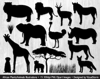 African Animal Silhouettes Clip Art Safari Jungle Animals Clipart, Wildlife Silhouettes, Wild Animal Clip Art, Safari Silhouettes Clipart
